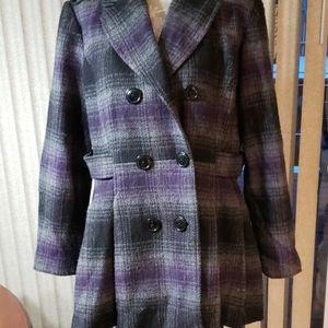 Worthington plaid pea coat.